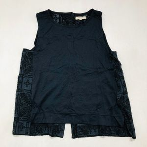 MADEWELL Womens Blouse Size M Black Embroidered